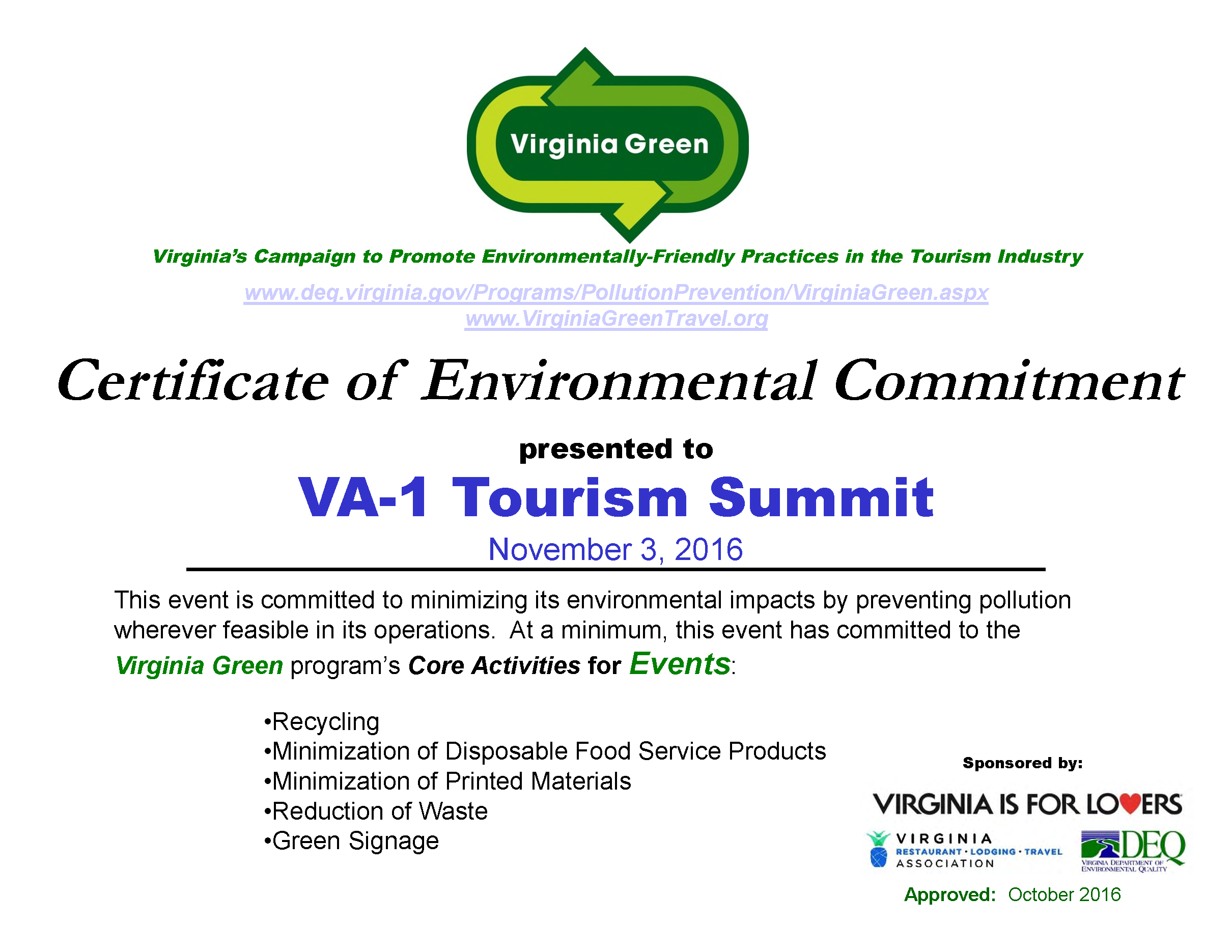 Va 1 Receives Green Certification Va 1 Tourism Summit Va 1 Tourism